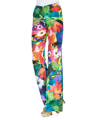 Chaundra Wide-Leg Floral Pants