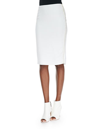 Fianna Lace-Side Pencil Skirt