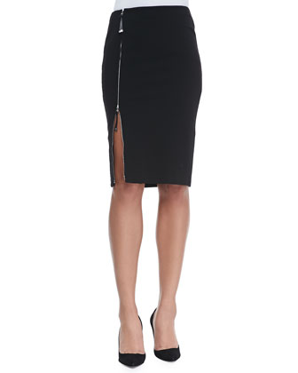 Scarlette Jersey Skirt with Zip, Black