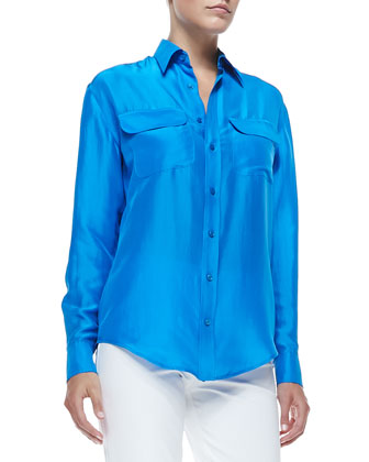 Benford Washed Silk Shirt, Tropical Blue