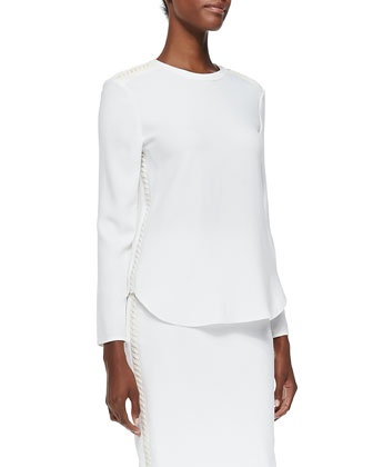 Marelle Leather-Lace Long-Sleeve Top