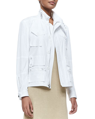 Utility Bomber Jacket with Zip, Optic White