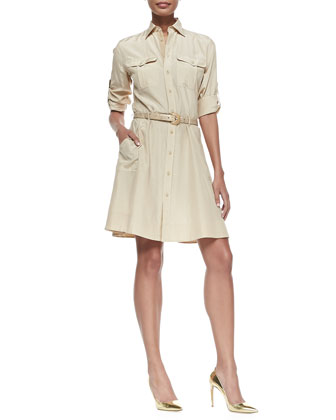 Tab-Sleeve Feather-Weight Shirtdress