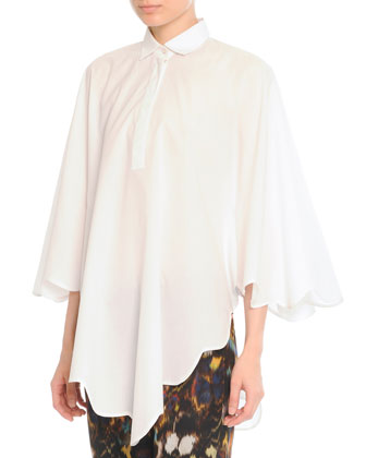Scalloped Cape Blouse