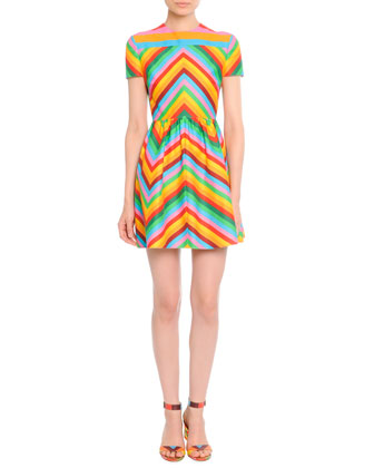 Bright Chevron A-Line Dress