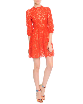 3/4-Puff-Sleeve Lace Dress
