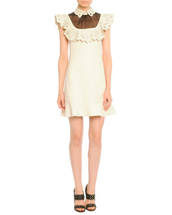 Sheer-Neck Leather-Trim Dress, Ivory/Black