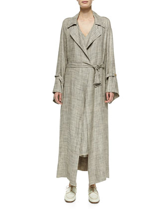 Petal Self-Tie Linen Coat