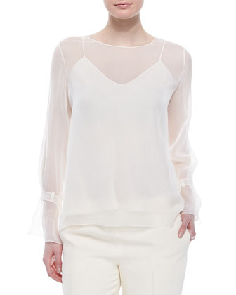 Chiffon Tabbed Blouse w/ Camisole