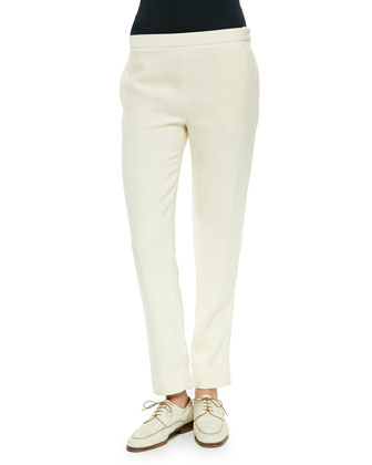 Large-Cuff Skinny Pants, Light Beige