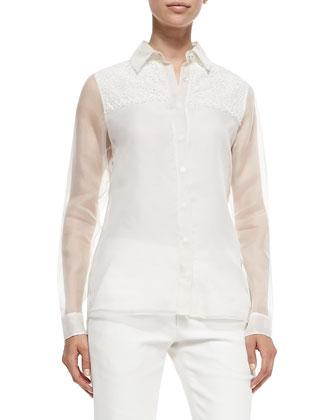 Silk/Lace Combo Shirt, Chalk