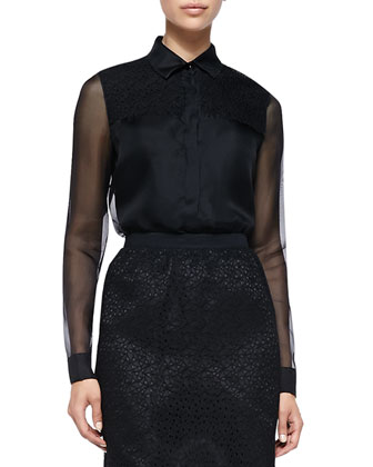 Combo Silk Organza Blouse, Black