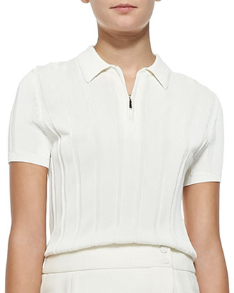 Ribbed Knit Polo Top with Zip, Chalk
