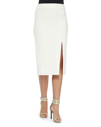 Faux-Wrap Pencil Skirt, Chalk