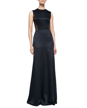 Sleeveless Gown W/ Eyelet Lace Back