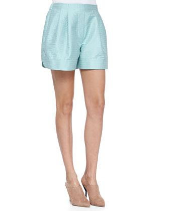 Pleated Jacquard Curved-Hem Shorts, Seafoam