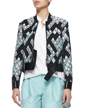 Geometric-Print Textured Jacket w/ Leather Belt, Celadon/Black
