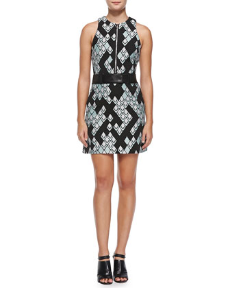 Belted Geometric-Print Zip-Front Dress, Celadon/Black