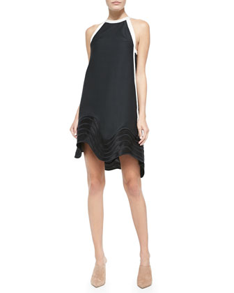 Wave-Embroidered Jacquard Shift Dress, Black