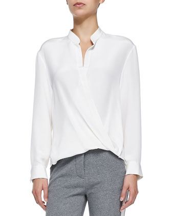 Draped Tuck-In Blouse, Antique White