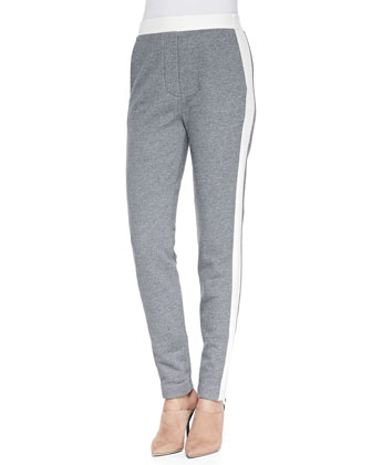 Trapunto-Striped Track Pants, Gray Melange