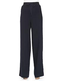 Wide-Leg Wool Pants W/ Drawstring