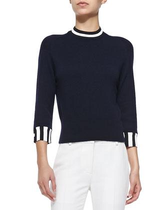 Cashmere Stripe-Trimmed Pullover, Navy