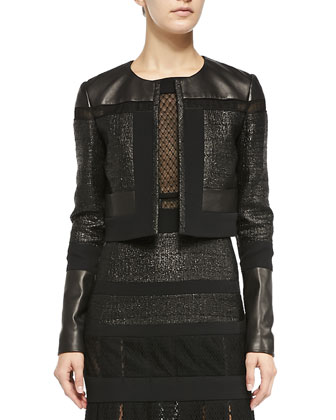 Cropped Leather & Tweed Jacket, Noir