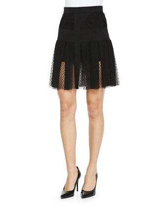 Pleated Lace Overlay Skirt, Noir