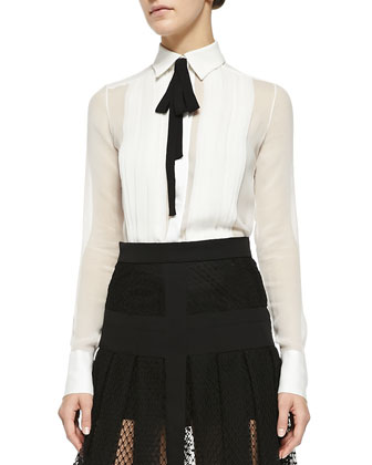 Long-Sleeve Silk Blouse with Black Tie