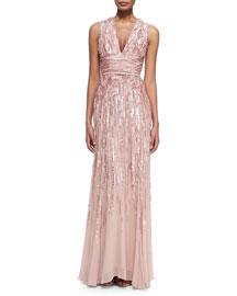 Embellished Sleeveless V-Neck Gown