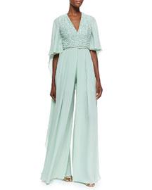 Embellished Wide-Leg Silk Jumpsuit, Mint