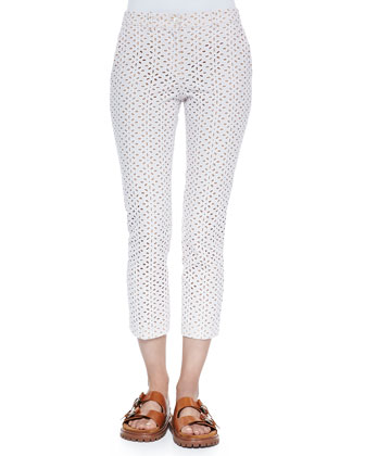 Samantha Cropped Eyelet Pants, Optic White