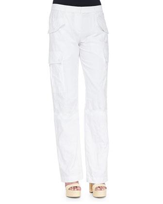 Straight-Leg Cargo Pants, Optic White