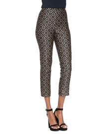 Floral-Print Side-Zip Pants, Black/Suntan