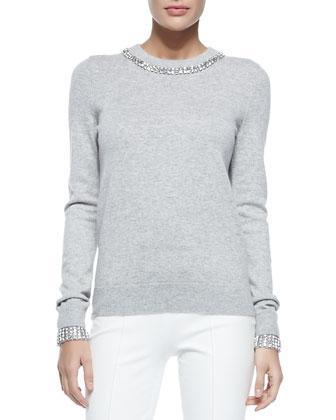 Embellished Cashmere Crewneck Sweater