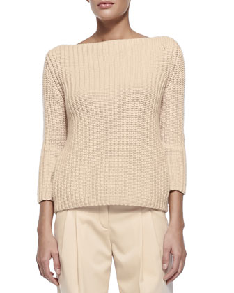 Shaker-Knit Cashmere Boat-Neck Sweater