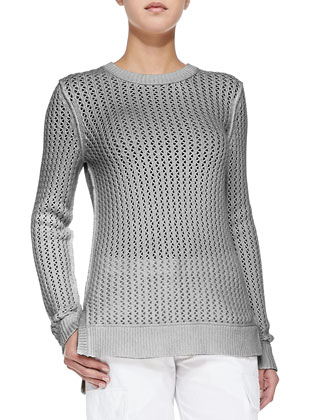 Zigzag Crewneck Cotton-Cashmere Sweater