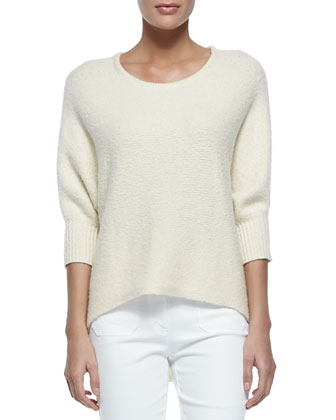 Dolman-Sleeve Crewneck Sweater, Vanilla