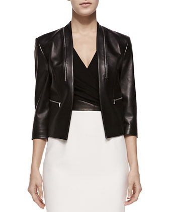 Princess-Seamed Leather Zip Jacket