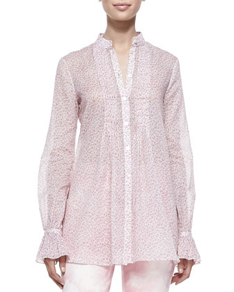 Long-Sleeve Cotton Voile Tunic, Oleander