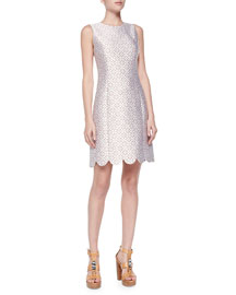 Scallop-Hem Shift Dress, Optic White