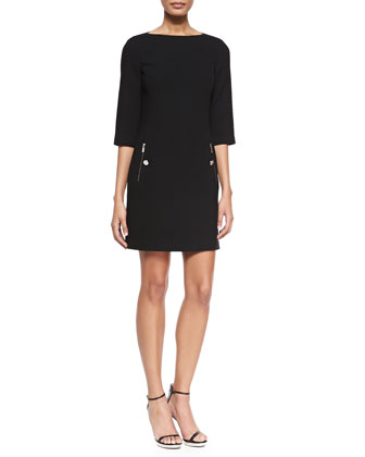 3/4-Sleeve Boat-Neck Shift Dress, Black