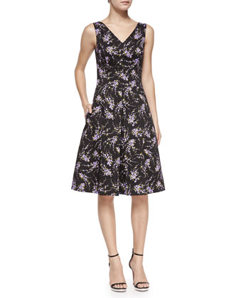 V-Neck Floral Stretch-Cotton Dance Dress
