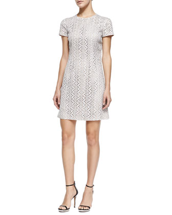 Short-Sleeve Eyelet Dress, Optic White
