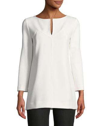 Tunic Blouse with Keyhole, Ivory