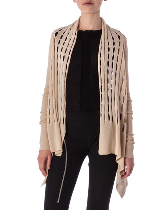 High-Low Cardigan in New Wool Knit, Bone