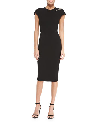 Cap-Sleeve Sheath Dress with Embellished Shoulder
