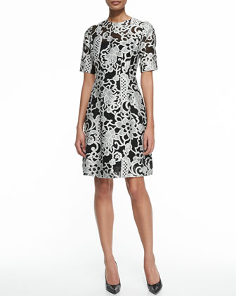Elbow-Sleeve Jacquard Dress