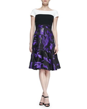 Short-Sleeve Printed Skirt Dress, Violet/Noir/Ivory
